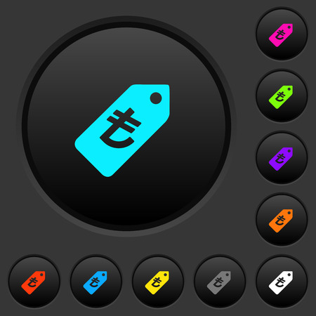 Turkish Lira price label dark push buttons with vivid color icons on dark grey background 版權商用圖片 - 111536522