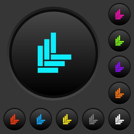 Parquet pattern dark push buttons with vivid color icons on dark grey background Ilustração