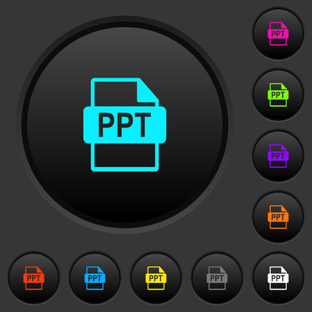 PPT file format dark push buttons with vivid color icons on dark grey background