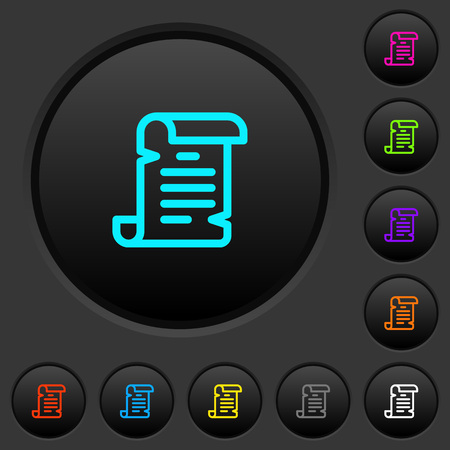 Paper scroll dark push buttons with vivid color icons on dark grey background Иллюстрация