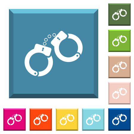 Handcuffs white icons on edged square buttons in various trendy colors