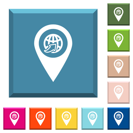 International route GPS map location white icons on edged square buttons in various trendy colors Illustration