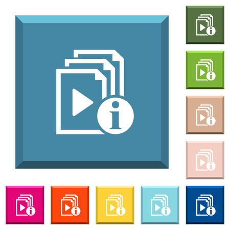 Playlist information white icons on edged square buttons in various trendy colors Illustration