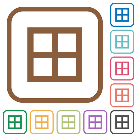 All borders simple icons in color rounded square frames on white background