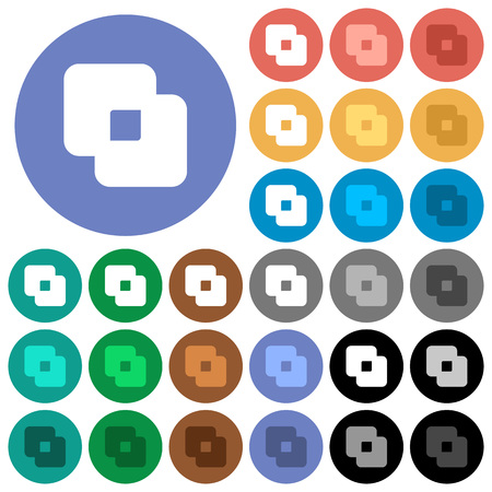 Exclude shapes multi colored flat icons on round backgrounds. Included white, light and dark icon variations for hover and active status effects, and bonus shades. Illustration