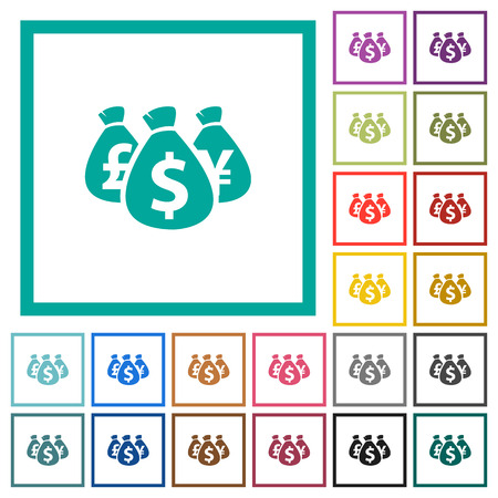 Money bags flat color icons with quadrant frames on white background