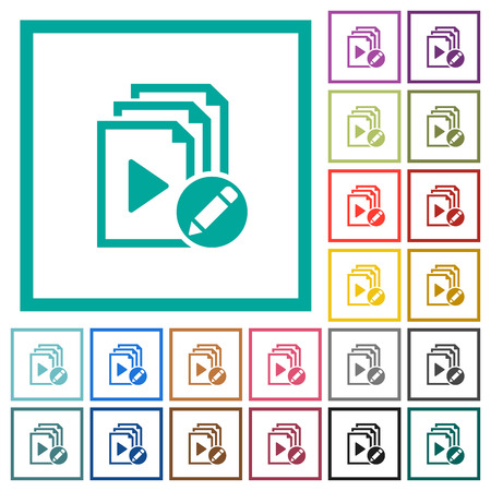 Rename playlist flat color icons with quadrant frames on white background