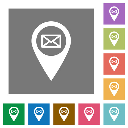 Address of GPS map location flat icons on simple color square backgrounds Illustration
