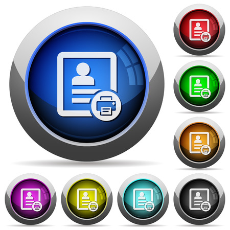 Print contact icons in round glossy buttons with steel frames