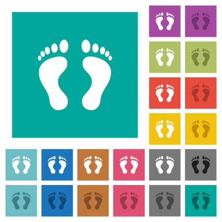 Human Footprints multi colored flat icons on plain square backgrounds. Included white and darker icon variations for hover or active effects.