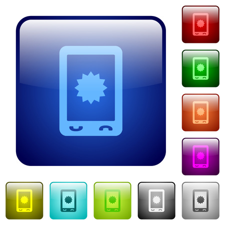 Mobile warranty icons in rounded square color glossy button set Ilustração