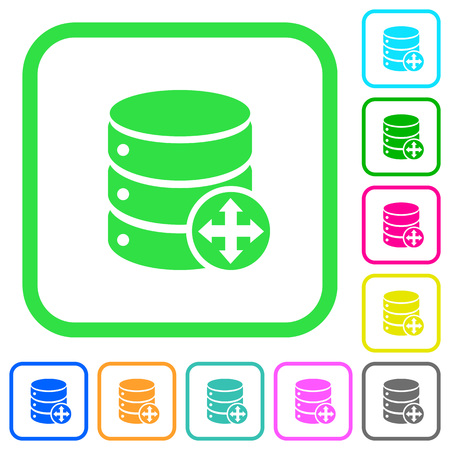 Move database vivid colored flat icons in curved borders on white background