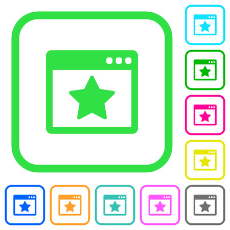 Favorite application vivid colored flat icons in curved borders on white background Иллюстрация