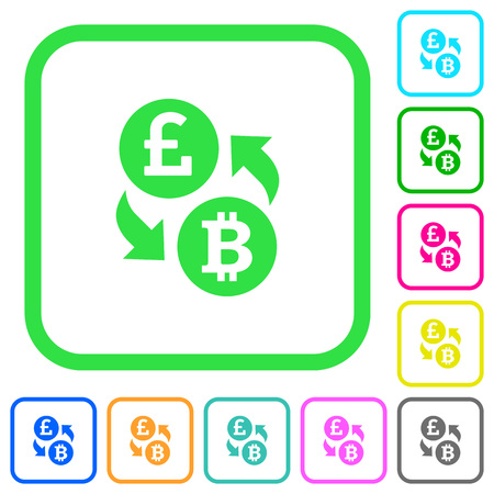 Pound Bitcoin money exchange vivid colored flat icons in curved borders on white background