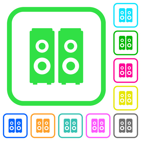 Speakers vivid colored flat icons in curved borders on white background Illustration