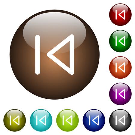 Iconos blancos previos de medios en botones redondos de vidrio de color