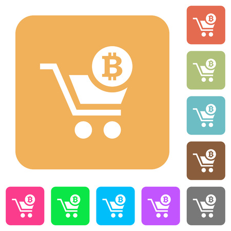 Checkout with Bitcoin cart flat icons on rounded square vivid color backgrounds.