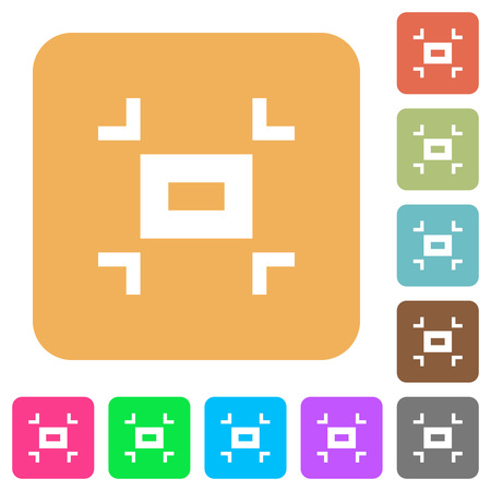 Small screen flat icons on rounded square vivid color backgrounds. Ilustração