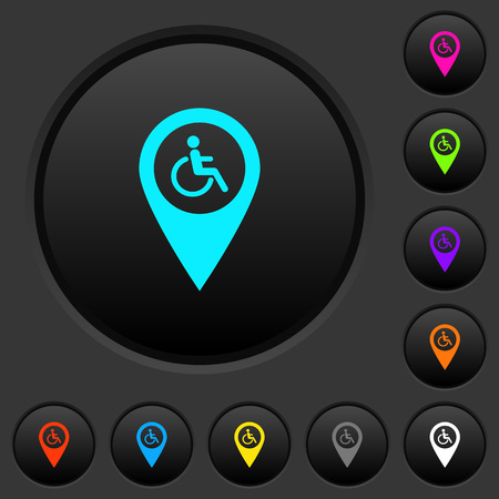 Disability accessibility GPS map location dark push buttons with vivid color icons on dark grey background