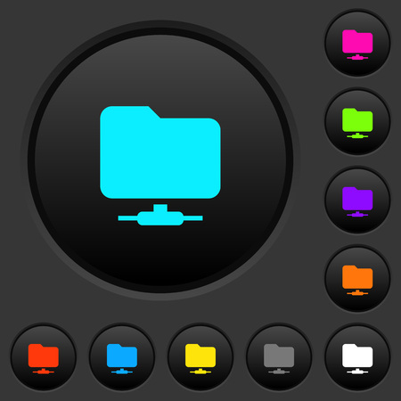 Network folder dark push buttons with vivid color icons on dark grey background