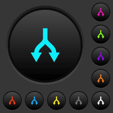 Split arrows down dark push buttons with vivid color icons on dark grey background