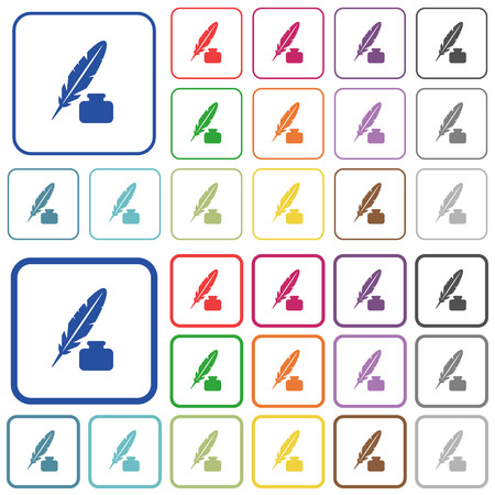 Feather and ink bottle color flat icons in rounded square frames. Thin and thick versions included. Illustration