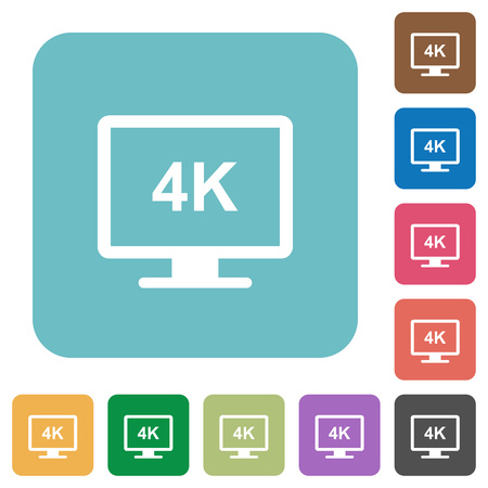 4K display white flat icons on color rounded square backgrounds  イラスト・ベクター素材