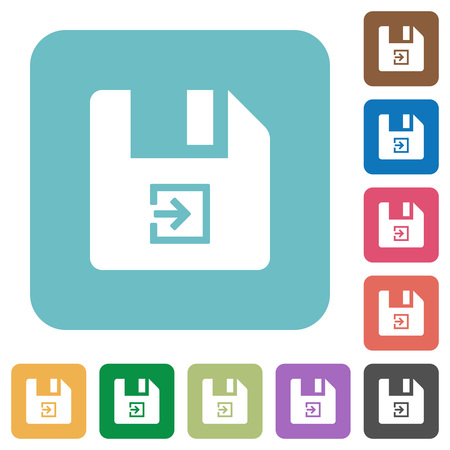 Import file white flat icons on color rounded square backgrounds