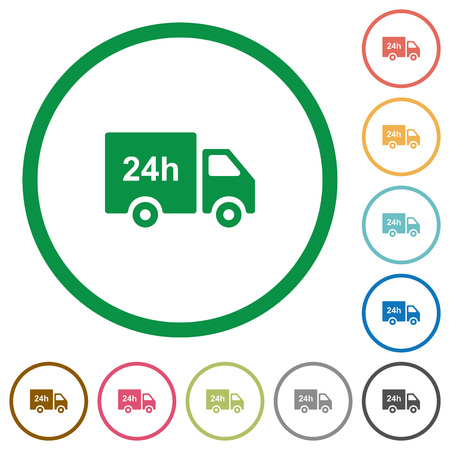 24 hour delivery truck flat color icons in round outlines on white background