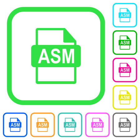 ASM file format vivid colored flat icons in curved borders on white background Illustration