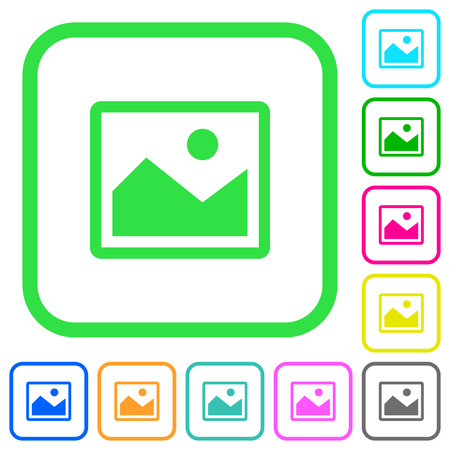 Single picture vivid colored flat icons in curved borders on white background Иллюстрация