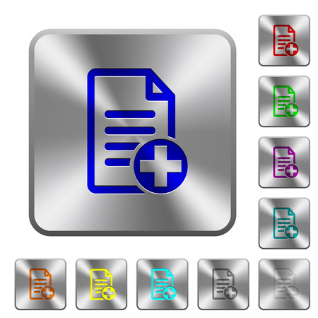 Add new document engraved icons on rounded square glossy steel buttons