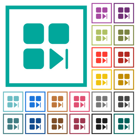 Component next flat color icons with quadrant frames on white background