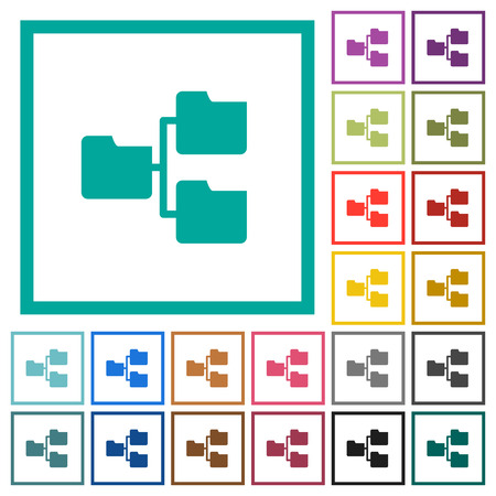 Shared folders flat color icons with quadrant frames on white background Vettoriali