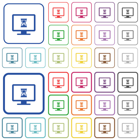 Busy computer color flat icons in rounded square frames. Thin and thick versions included.