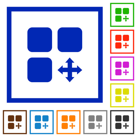 Move component flat color icons in square frames on white background
