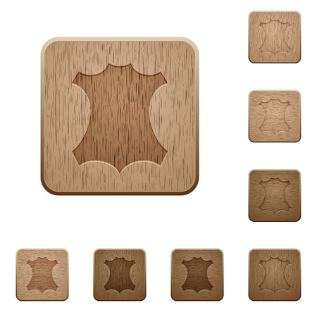 Genuine leather symbol on rounded square carved wooden button styles