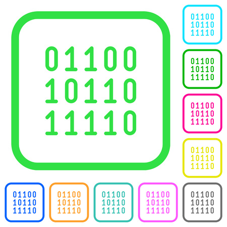 Binary code vivid colored flat icons in curved borders on white background