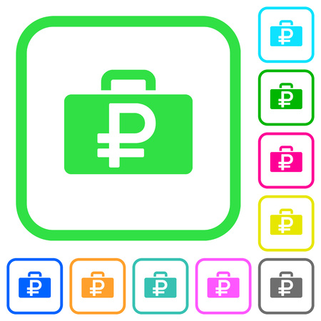 Ruble bag vivid colored flat icons in curved borders on white background Illustration