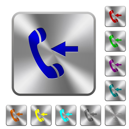 Incoming phone call engraved icons on rounded square glossy steel buttons Illustration