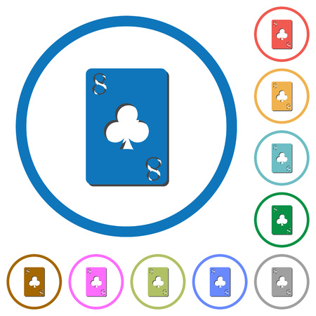 Eight of clubs card flat color vector icons with shadows in round outlines on white background Foto de archivo - 111501916