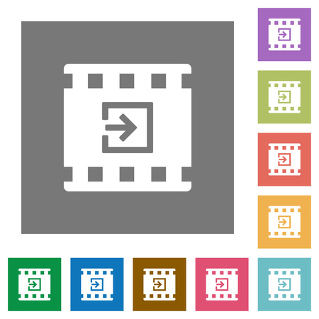 Import movie flat icons on simple color square backgrounds Illustration