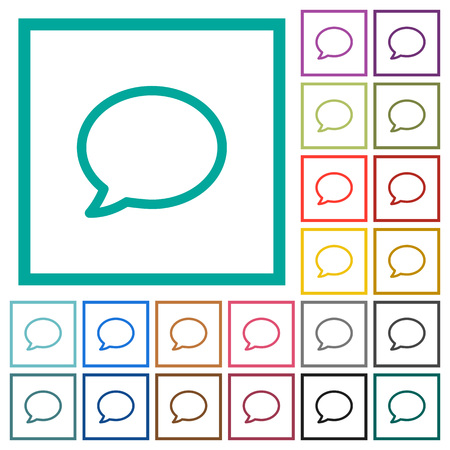 Empty comment bubble flat color icons with quadrant frames on white background