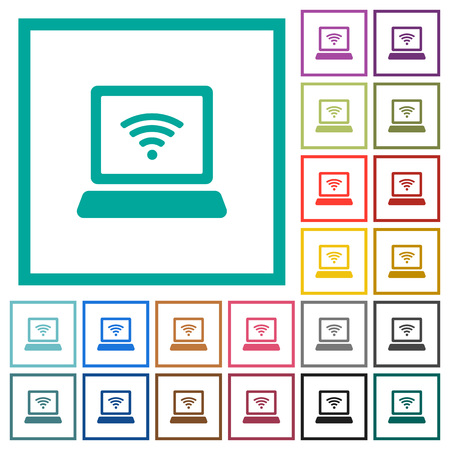 Laptop computer with wireless symbol flat color icons with quadrant frames on white background