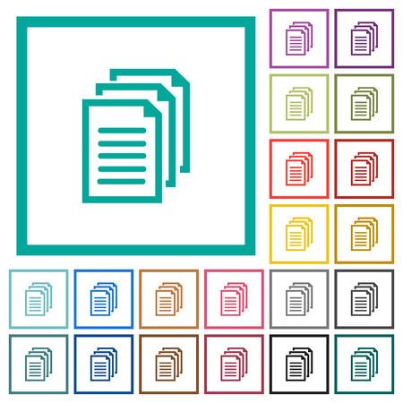 Icone a colori piatte di documenti multipli con cornici quadrate su sfondo bianco