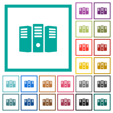 Server hosting flat color icons with quadrant frames on white background