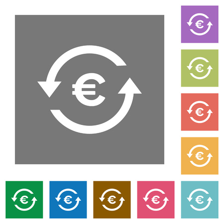 Euro pay back flat icons on simple color square backgrounds