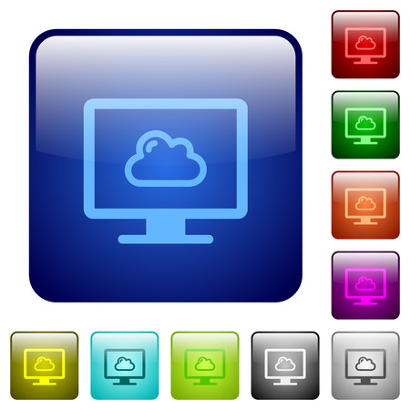 Cloud computing icons in rounded square color glossy button set