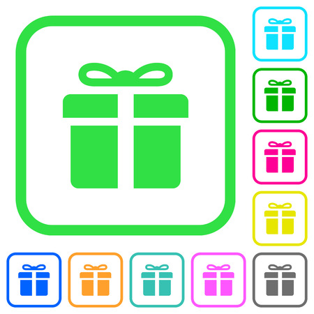 Gift box vivid colored flat icons in curved borders on white background