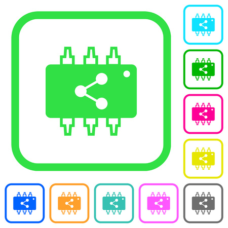 Connect hardware vivid colored flat icons in curved borders on white background Illustration